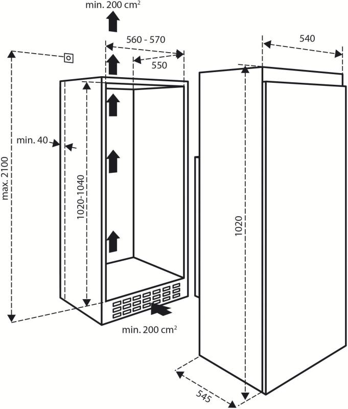 INVENTUM IKK1021S inbouw koeler 102cm hoog